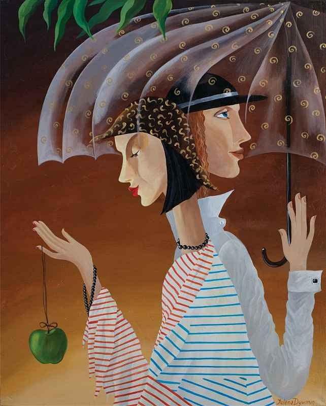 under the rain original art whimsical figurative artwork surreal painting by Yelena Dyumin artist