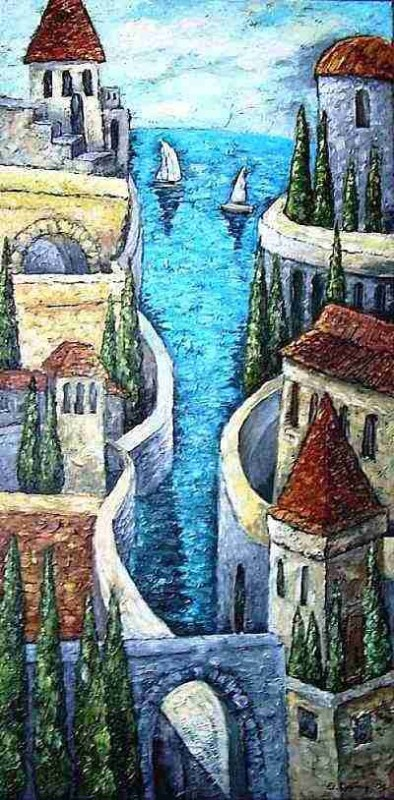 ancient walls contemporary original art artwork surreal painting by Yelena Dyumin artist