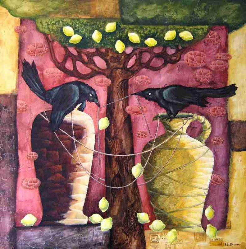 Conversation original art whimzical artwork surreal painting by Yelena Dyumin artist