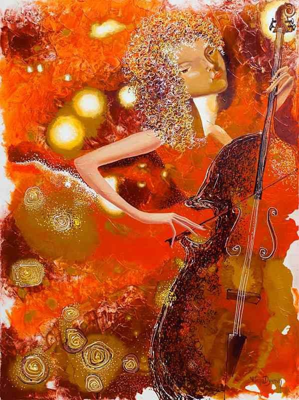 sounds of music II musician original art whimzical artwork surreal painting by Yelena Dyumin artist