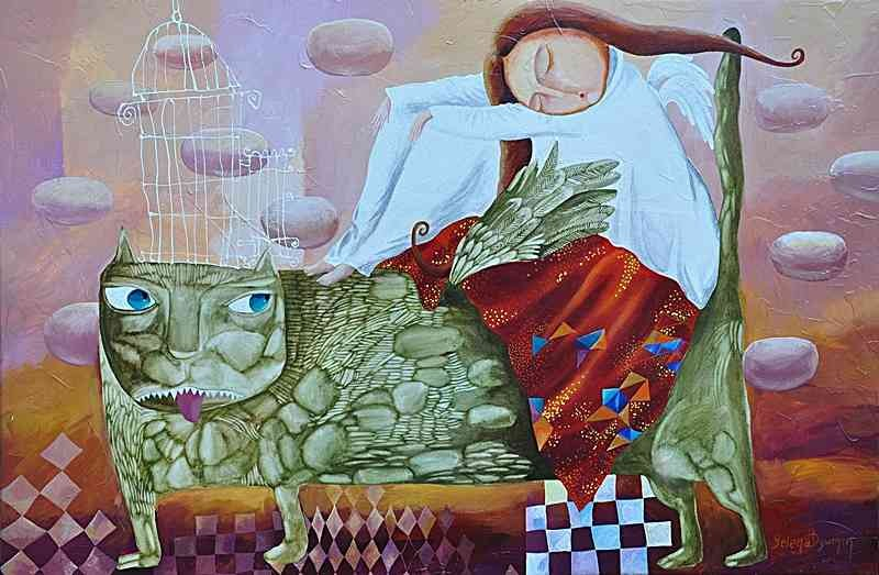 Sleeping angel original art whimzical artwork surreal painting by Yelena Dyumin artist
