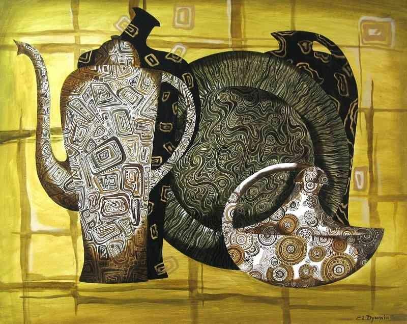 Mosaic original art contemporary artwork surreal painting by Yelena Dyumin artist