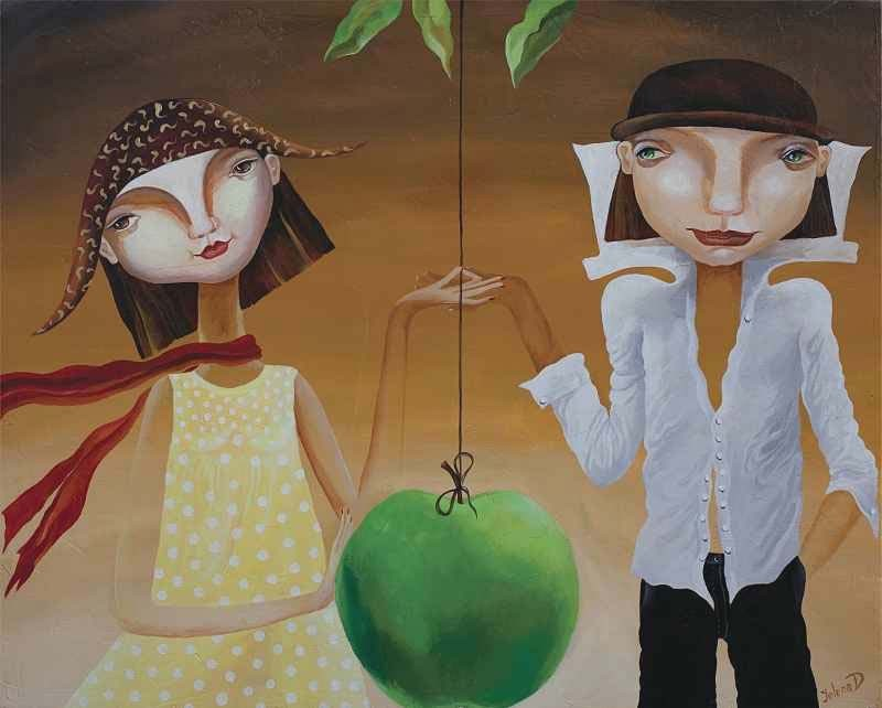 adam and eve original art whimsical apple green artwork surreal painting by Yelena Dyumin artist