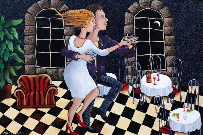 one night cocktail original art whimsical dancing musical couple artwork surreal painting by Yelena Dyumin artist