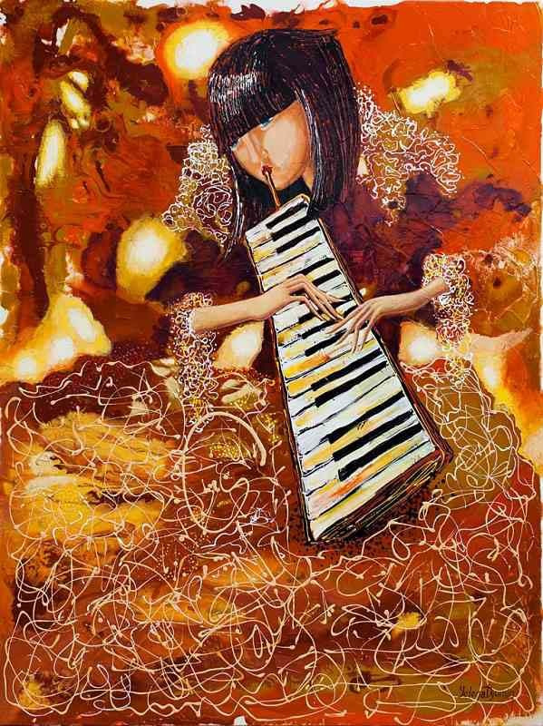 sounds of music III musician original art whimsical color artwork surreal painting by Yelena Dyumin artist