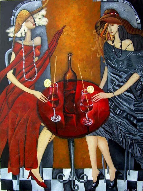 tet a tet original art whimsical girls drink artwork surreal painting by Yelena Dyumin artist