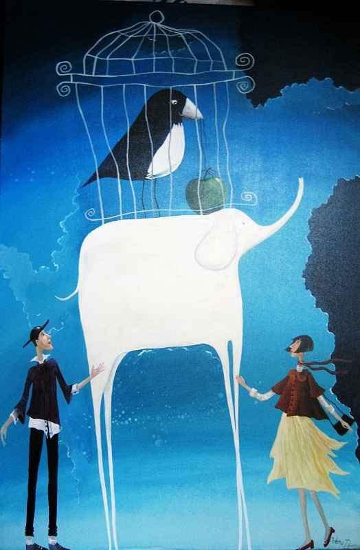 alegria original art whimzical artwork surreal painting by Yelena Dyumin artist