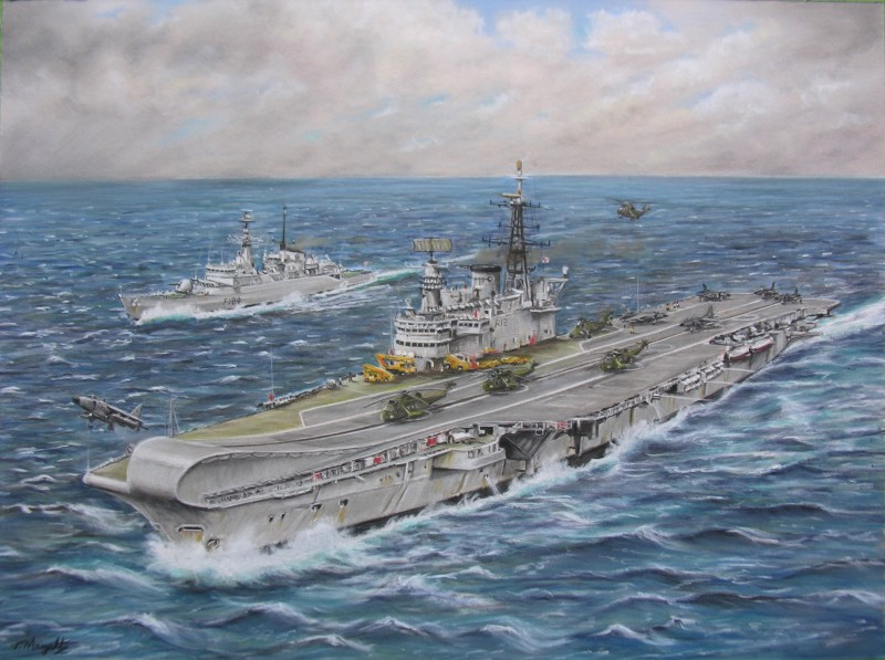 HMS Hermes on route to the Falklands