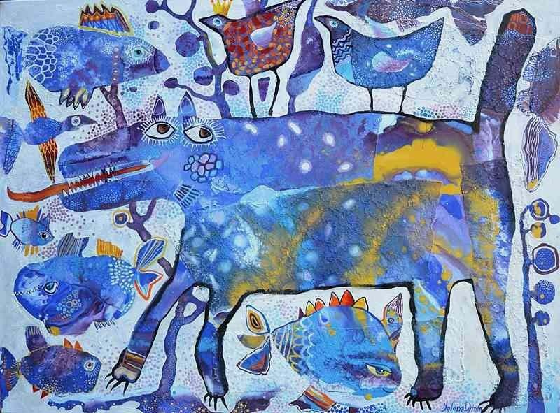 Kingdom  original art artsy whimsical abstract artwork painting by Yelena Dyumin artist