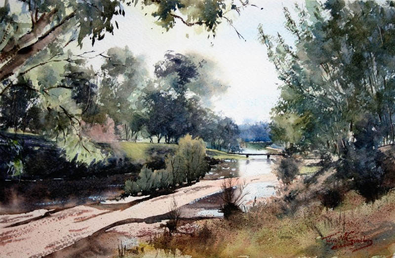 Soft Light Lachlan River-WC on Canson 300gsm Rough paper