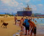 Newcastle harbour (NSW) oil on board