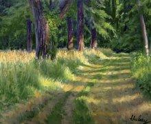 Morning Walk, oil, by John Hulsey
