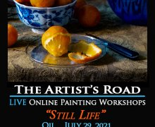 Oil Still Life in Orange and Blue