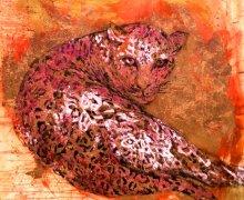 Leopardess 120x120cm