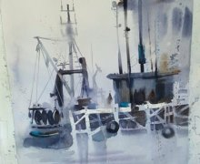 Amanda Brett watercolour artist, Auckland viaduct studio greys.jpg