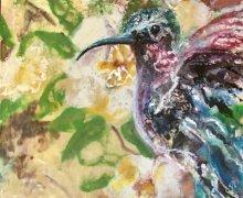 Encaustic hummingbird