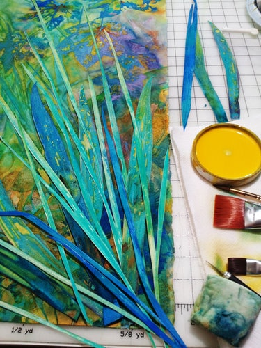 "Artist Sheri Trepina shares an in progress photo of her botanical work titled ""A Walk at Tally Lake."""