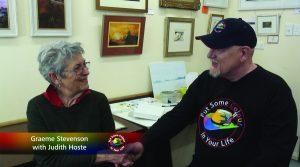 Graeme Stevenson shakes artist Judith Hoste's hand