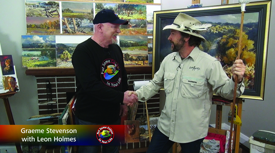 Leon Holmes and Graeme Stevenson shake hands on the set of Colour In Your Life TV Show