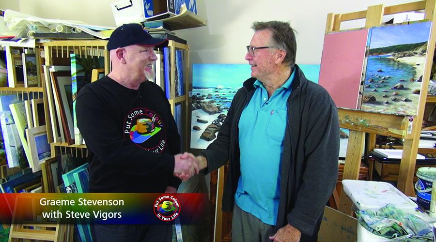 Steve Vigors and Graeme Steveneson share a handshake at Steve's studio in Busselton, WA