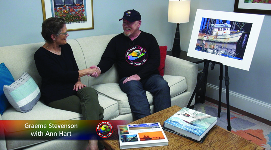 Ann Hart and Graeme Stevenson shake hands on the set of Colour In Your Life