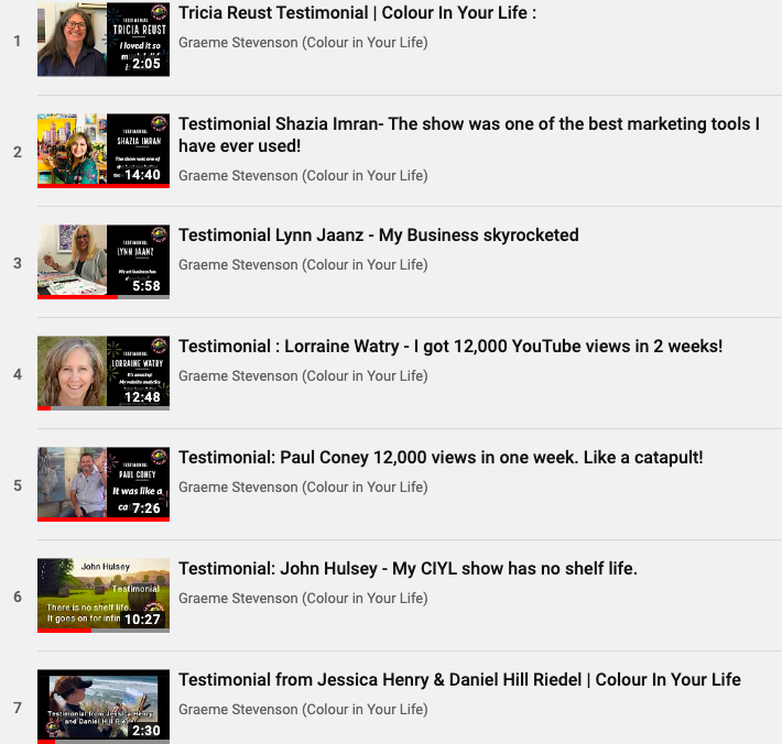 testimonials on Youtube